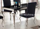 椅子のホームFunritureを食事する4ビロードが付いている椅子/ルイのダイニングテーブルを食事する上1500mmのダイニングテーブルのステンレス鋼の新しく思いがけないガラス