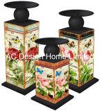 S/3 Torre Eiffel Vintage Design de mobiliário em madeira MDF/adesivo de papel metálica trapézio suporte para velas