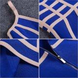 Novo vestido de bandagem das mulheres às riscas azuis Trança Spaghetti Rosa Mini vestidos com fecho de correr atrás do pescoço V parte sexy vestido de Noite