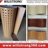 Panneau en composite en aluminium en grain en bois pour rideau mur