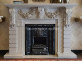 屋内装飾のための熱く自然で新しいクリーム色ベージュ大理石の環境の石造り暖炉
