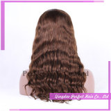 Factory Long Natural Brown Indian Hair Glueless Lace front Wigs