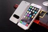 Ventana de lujo del espejo retrovisor limpiar cuero pu Flip Carcasa del PC para el iPhone 6 6s 6plus