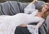 Le long lacet sexy de sirène de chemise vêtx la robe de mariage de robe nuptiale de vêtement