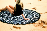 綿のテーブルクロスのビーチタオルの粋なSandlessの円形のヨガのマット