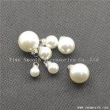 Accessori di plastica bianchi del metallo della perla del ribattino dei branelli rotondi del Rhinestone di modo