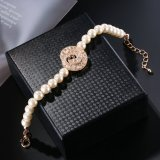 Nuevo diseño de moda cordones aleación Brazalete de Perlas Joyas con encanto