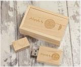 ペン駆動機構木USBのフラッシュ駆動機構の木製のPendrive実質容量のカスタムロゴUSBの棒木ボックス