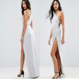 Hohes Schulter-Maxi Kleid mit freigelegtem Reißverschluss