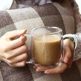 二重壁の高いホウケイ酸塩のガラスビンのコーヒー・マグのコップ