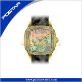 A caixa de aço inoxidável contínua 3ATM de quartzo Waterproof relógios do couro genuíno do IP Glod