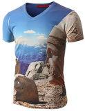 OEMの綿の感じポリエステル人の偶然の短い袖の印刷のTシャツ