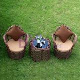 Mobília ao ar livre do jardim da casa de campo do Rattan grosseiro de 3 PCS