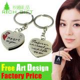 Metallo su ordinazione Keychain degli amanti di figura all'ingrosso del cuore con il marchio nessun ordine minimo