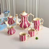 황제 Fuchsin에서를 가진 상아빛 사기그릇 커피 8개의 커피 세트