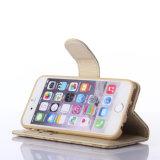 iPhone 8을%s 최신 돋을새김된 베이지색 PU 가죽 이동 전화 상자