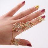 Women를 위한 모조 다이아몬드 Flower Butterfly Full Finger Ring