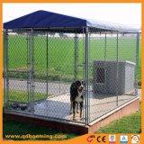 屋根が付いている電流を通されたチェーン・リンク犬の実行の犬小屋