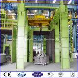 Limpieza de la superficie de la cubierta del cilindro del motor y consolidación de la máquina del chorreo con granalla de la percha