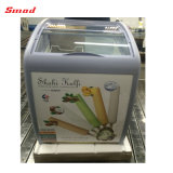 Congelador superior de cristal curvado comercial del pecho del helado del congelador de la visualización