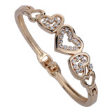 Braccialetto Heart-Shaped dell'oro della Rosa dei monili del diamante