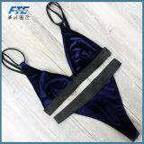Bikini brasiliano sexy del contrassegno del tessuto su ordinazione del velluto