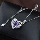 紫色のジルコンの水晶中心の吊り下げ式の模造方法宝石類のネックレス