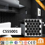 Mosaico nero della porcellana della parete della stanza da bagno del poligono (C555001)