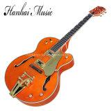 Musique de Hanhai/guitare électrique orange Semi-Creuse de jazz