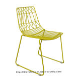 Modern Classic Metal Comedor Wire Chair Curva lateral apilable