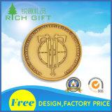 Moneta personalizzata di figura del timone con colore dorato lucido