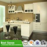 Projetos brancos da cozinha da membrana do PVC da cor