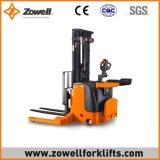 La nuova vendita calda di Zowell elettrico 1.5 tonnellate cavalca l'impilatore con altezza di sollevamento 4.8m massima