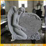 Scultura rotonda del Headstone di modello del cuore e di angelo