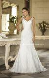 Robe de mariée en dentelle en tulle V-Neck Stock Robe de mariée simple W175282