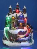 Decoratie 11 van Kerstmis van de hars de Optische Kerk van de Vezel '' met Roterende Boom en het Schaatsen Childs met 8 Liederen van Kerstmis