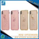 Las series elegantes de la estrella electrochapan TPU con la caja del Rhinestone para el iPhone X