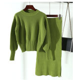 Vestido longo da bainha da camisola do Knit do algodão da luva das mulheres da forma