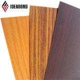 Revestimento de PVDF padrão de madeira Painel Composto de alumínio para uso externo