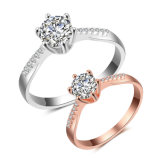 Form-Frauen-Hochzeits-Verlobungsring-Weiß-Goldring mit KubikZirconia