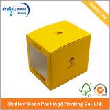 Caisse d'emballage en gros de jouet de papier de jaune de pliage avec le guichet (QYZ392)