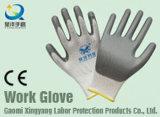 13de poliéster recubierto de nitrilo indicador de la seguridad Guantes de trabajo (N7001)