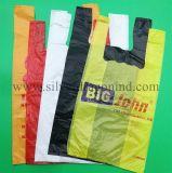 Kundenspezifische Plastik-HDPE Shirt-Beutel für Lebensmittelgeschäft, danke sich zu bauschen
