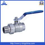 Robinet à tournant sphérique en laiton des syndicats avec le traitement en aluminium de guindineau (YD-1004)