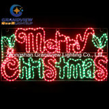 Holly Leaves Motif Rope Lights를 가진 살아움직이는듯한 104cm Merry Christmas Letter
