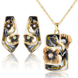 Reeks van de Juwelen van het Email van het Kristal van het Porselein van China de Blauwe en Witte Goud Geplateerde