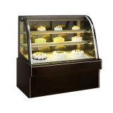 frigorifero curvo della visualizzazione di raffreddamento ad aria due di 1.5m per le pasticcerie, la ghiottoneria, la latteria e le carni