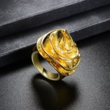 Nuevo anillo de oro del diseño de la flor de la manera sin la piedra