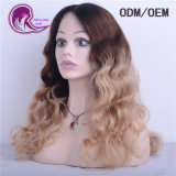 Ombre onda natural del color de cabello virgen India encaje frontal peluca