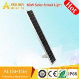 9600lm alimentada a energia solar lâmpada exterior 60W levaram todos em uma luz de Rua solar integrada